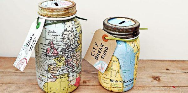 Map Mason Jar Bank DIY by Pillar Box Blue