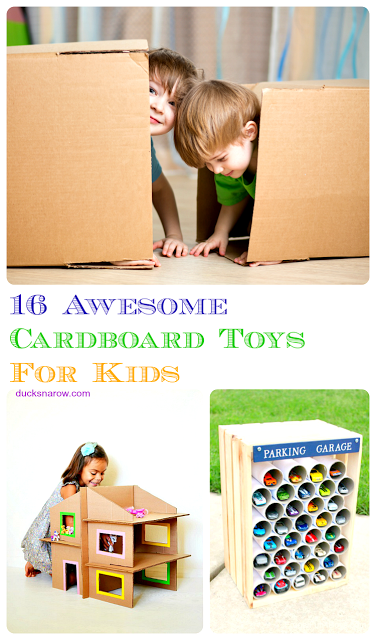 DIY toys made from cardboard boxes and other items from around the house! You can also buy some very nice cardboard toys, ready made! #affiliate