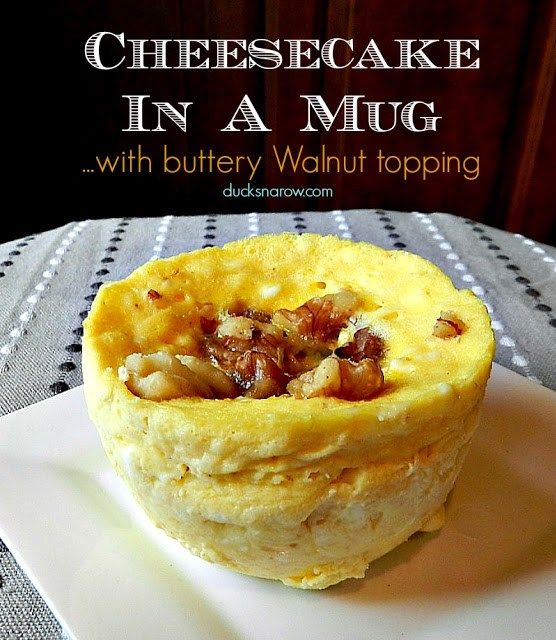 Quick low carb cheesecake with walnut butter topping in a mug! #lowcarb