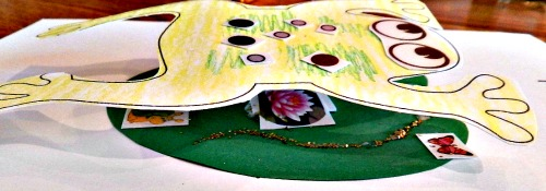 Side view of the frog kids craft where you can see the lily on the pad.
