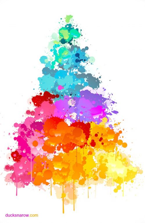 Christmas tree painting with a splash of color