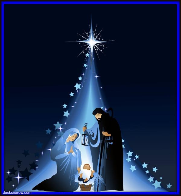The star of Bethlehem and Holy Family Nativity Scene