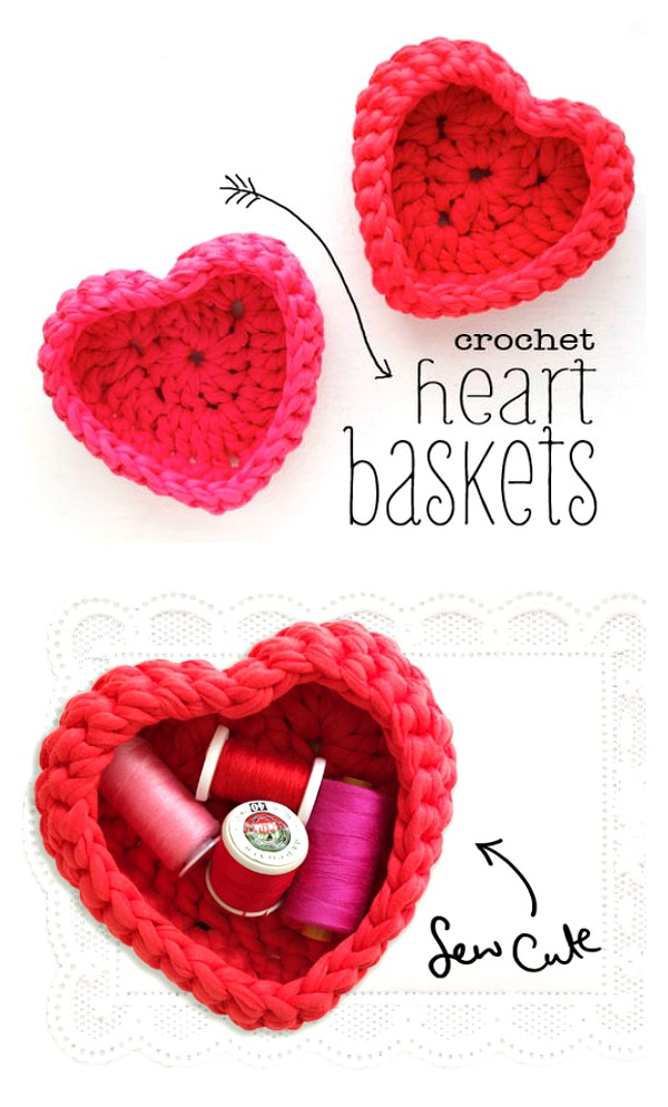 Crocheted heart shaped storage baskets