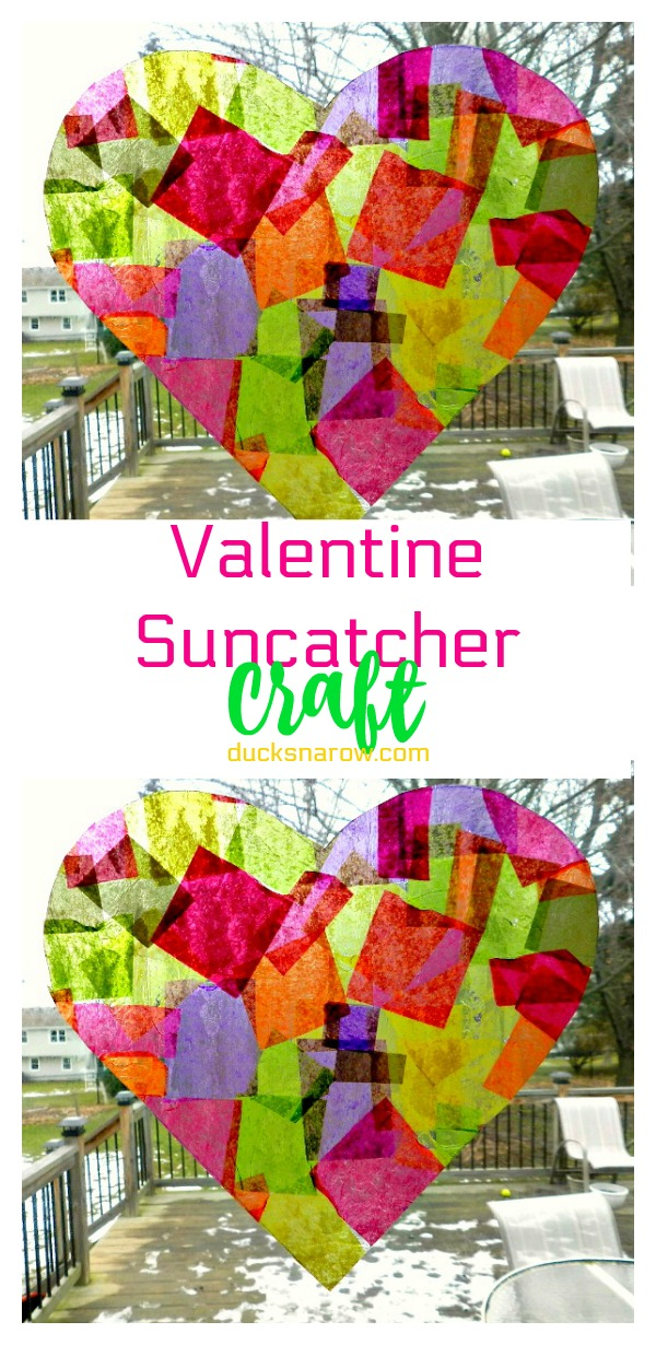Pretty heart shaped suncatcher craft for #kids