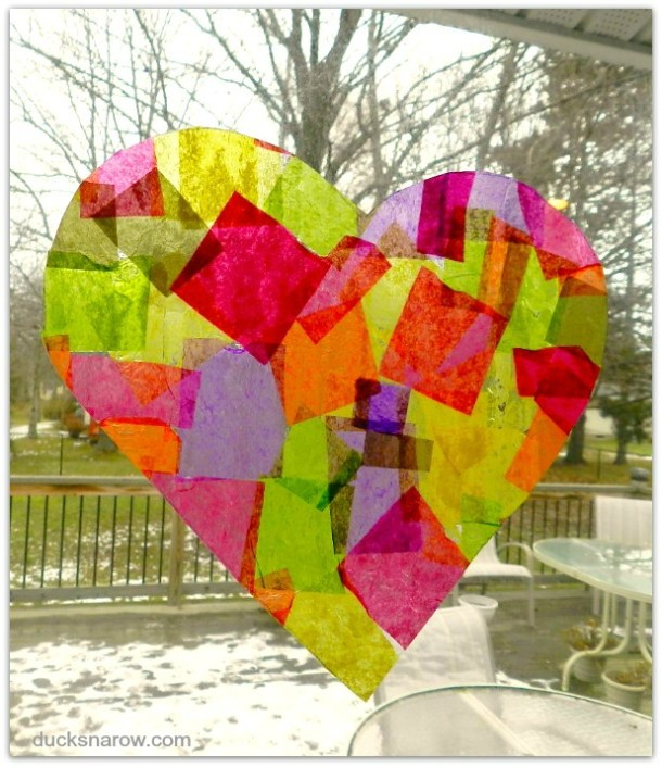 Heart shaped tissue paper suncatcher #craft