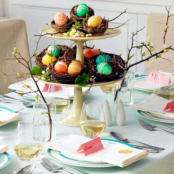Two tiered table decoration for Easter #holiday #decor