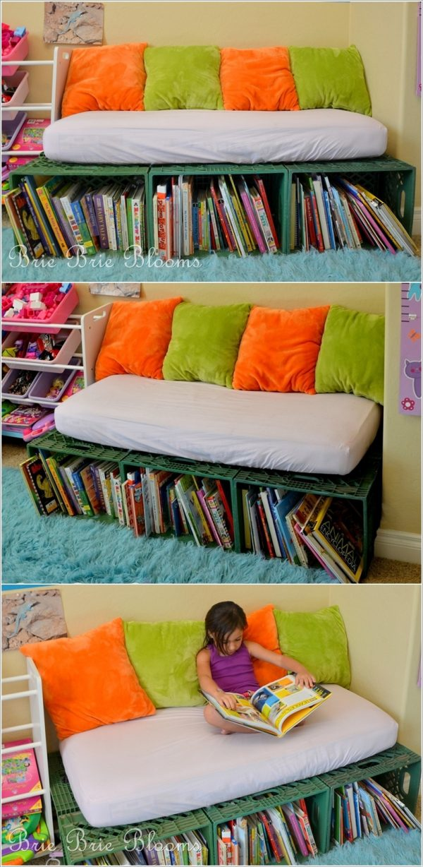 Recycle plastic boxes to make a beautiful reading space for your kids #kids