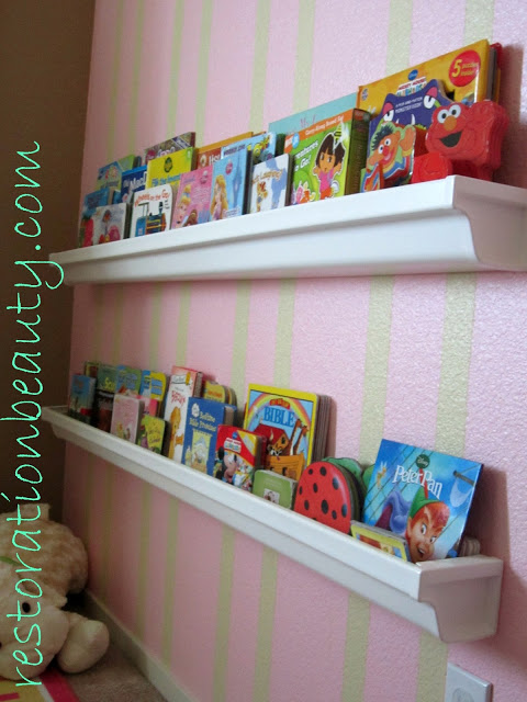 Use rain gutters to make these great bookshelves for your little one's reading area