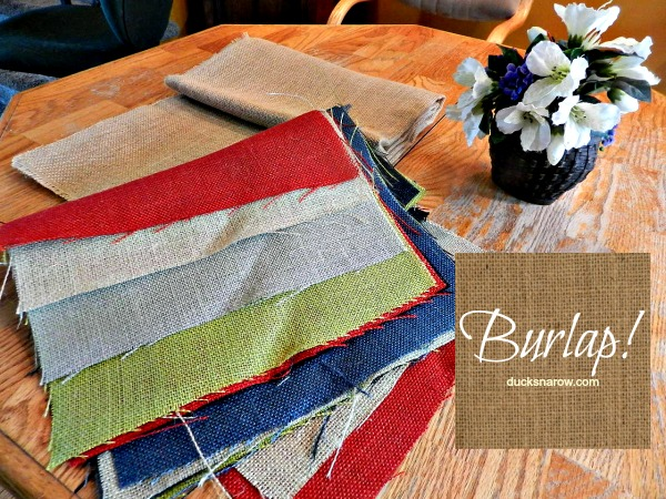 Assorted colors of burlap #crafts #supplies