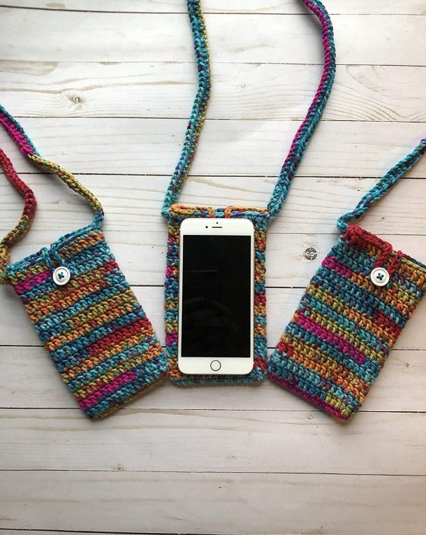 Crocheted cell phone purse #ad