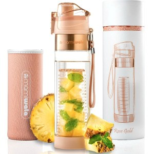 Pretty infuser water bottle with insulator sleeve #ad