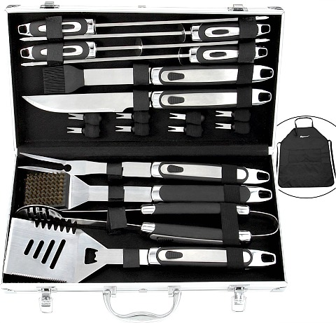 20 piece grilling tool set with apron #ad