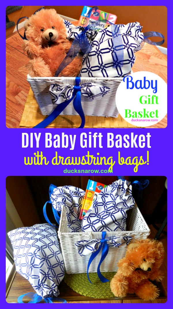 How to make a drawstring bag for a baby gift basket and other uses #sewing