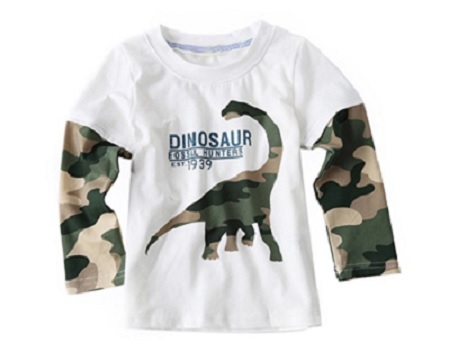 Long sleeved dinosaur t-shirt with camouflage sleeves for kids #affiliate