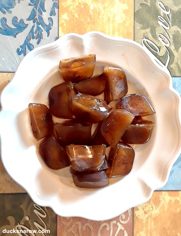 Pretty coffee ice cubes on a plate all set for a party! #coffee #tips