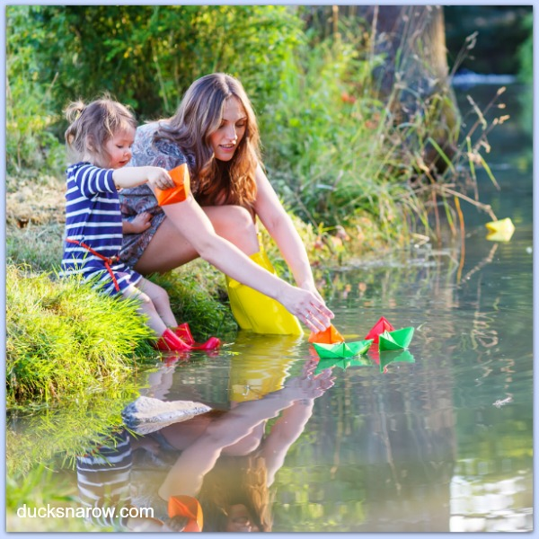 Mother and daughter floating paper boats #familyfun
