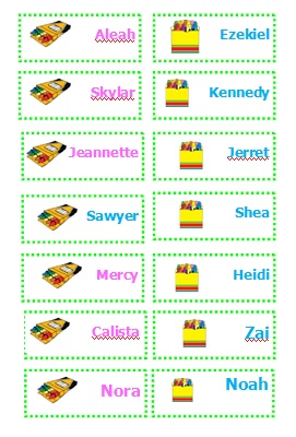 Sample of name tags that you can make yourself from our FREE printable