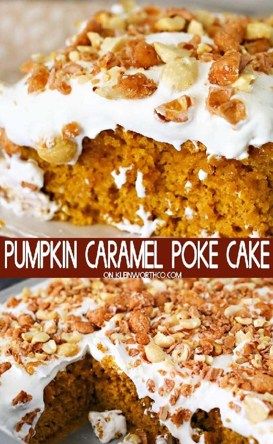 Pumpkin Caramel Poke Cake from Kleinworth & Co