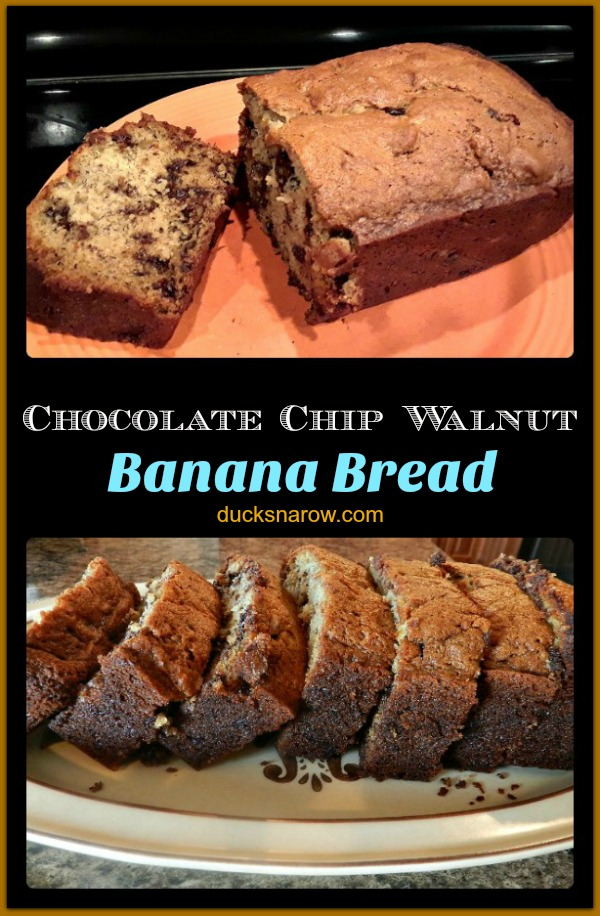 Banana bread with chocolate chips and chopped walnuts #recipes