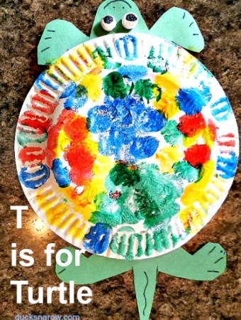 T is for Turtle paper plate craft