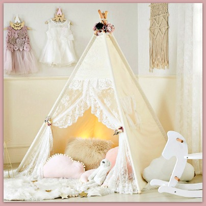 Lace play tent for little girls #kidsrooms #ad