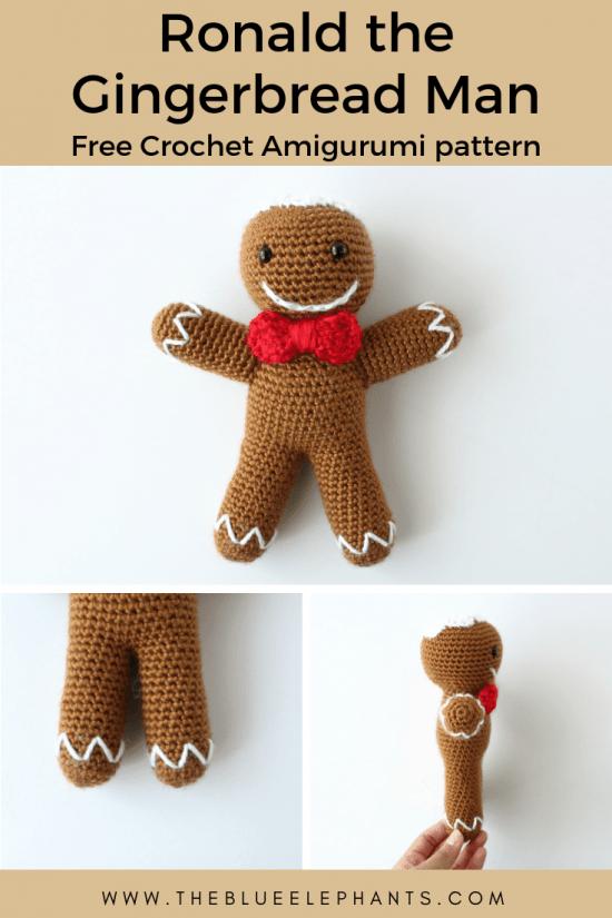 Ronald the gingerbread man crochet doll