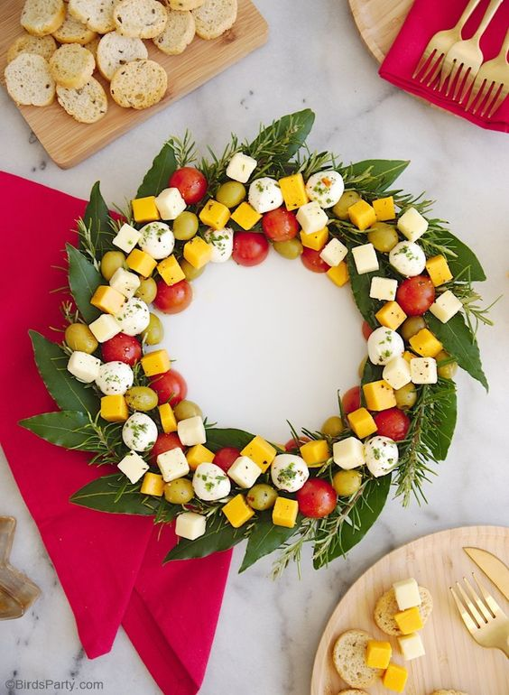 Wreath centerpiece of appetizers