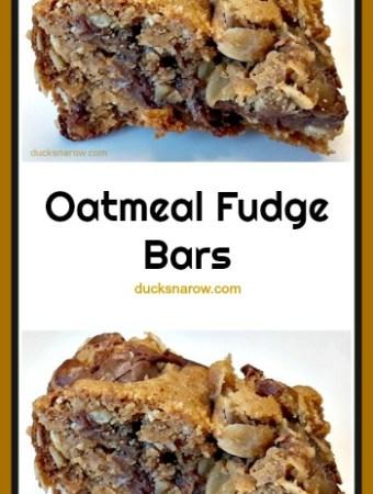 Fudgy Oatmeal Chocolate Bars #recipe