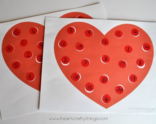 Valentine sticker matching activity by I Heart Crafty Things