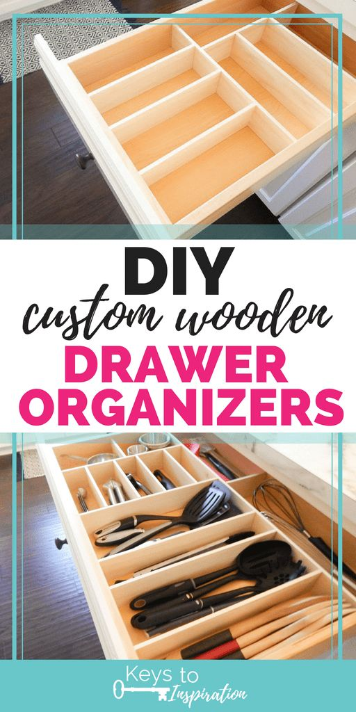 Wooden drawer organizers for the kitchen #DIY