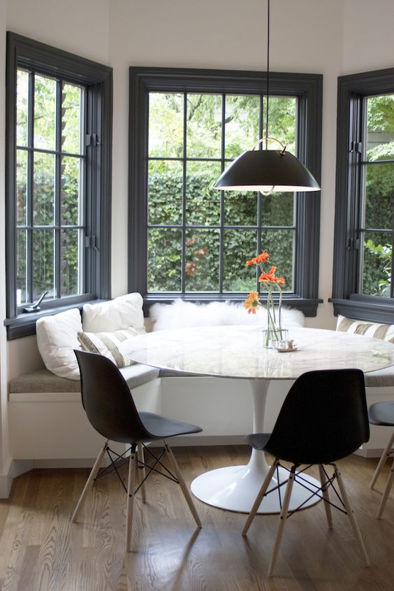 Modern tudor kitchen at Bright Design Labs breakfast nook #homedesign