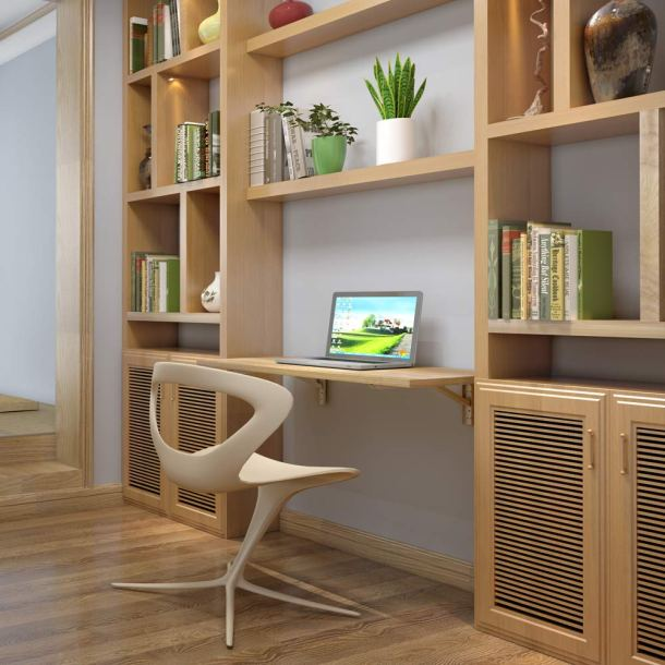 Fold down wall mounted shelf doubles as a desk! #storage #tips