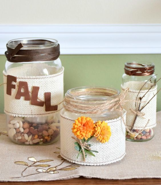 Burlap Mason Jars from Proverbs31 Wife blog