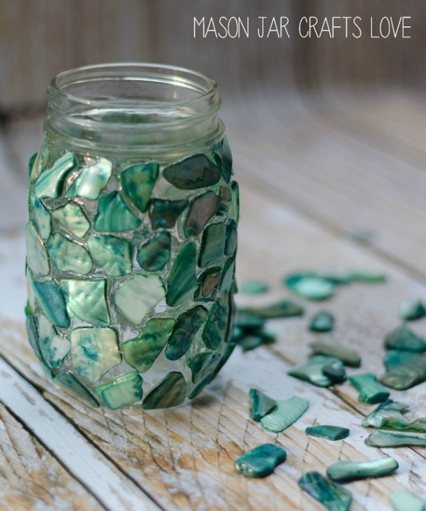 Mosaic Mason Jar Craft tutorial #crafts