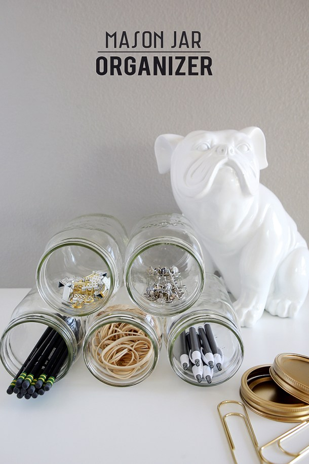 DIY mason jar organizer #tips