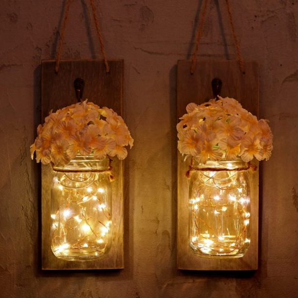 Mason jar wall sconces #ad