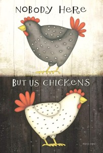 Nobody here but us chickens garden flag #ad