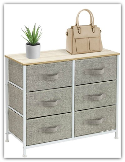 Storage dresser with fabric easy-pull drawers #ad