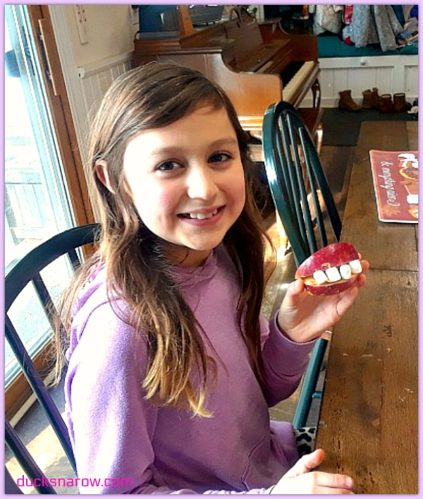 Miss Z with her food art teeth project #foodart