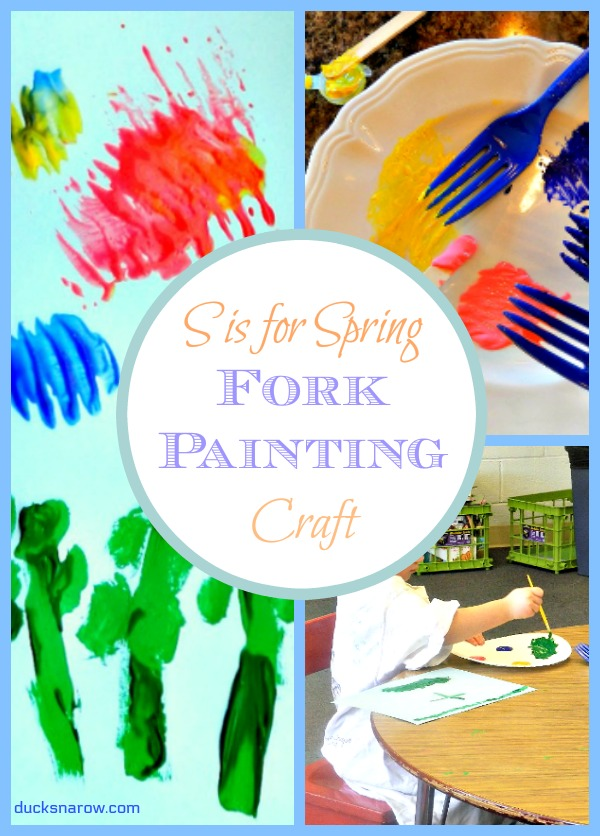 Spring picture painted by preschoolers using tempera paints and plastic forks #preschool #kidscrafts