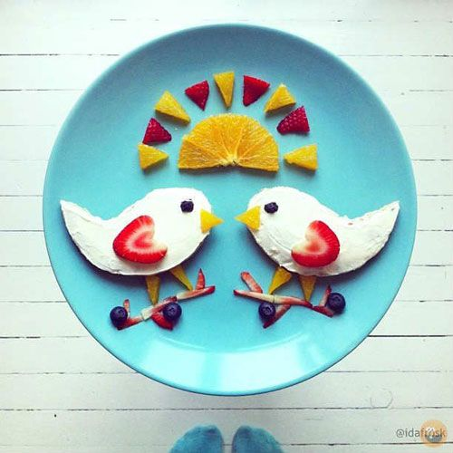 Birdies on branches food art #kids #familyfun