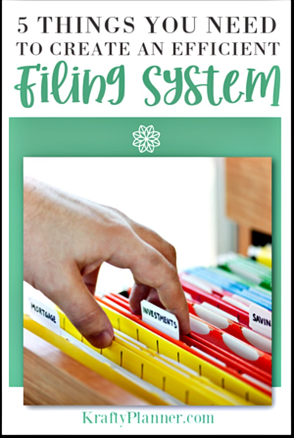 Filing system advice from Krafty Planner blog
