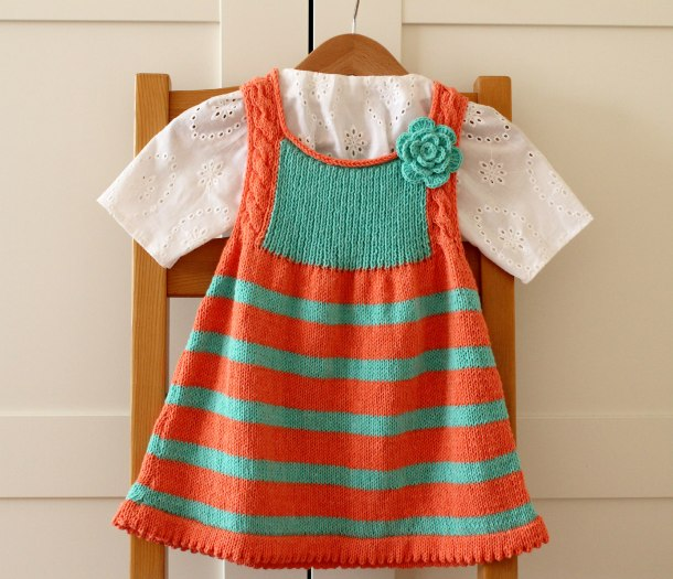 Knit baby dress pattern from Lily Craft