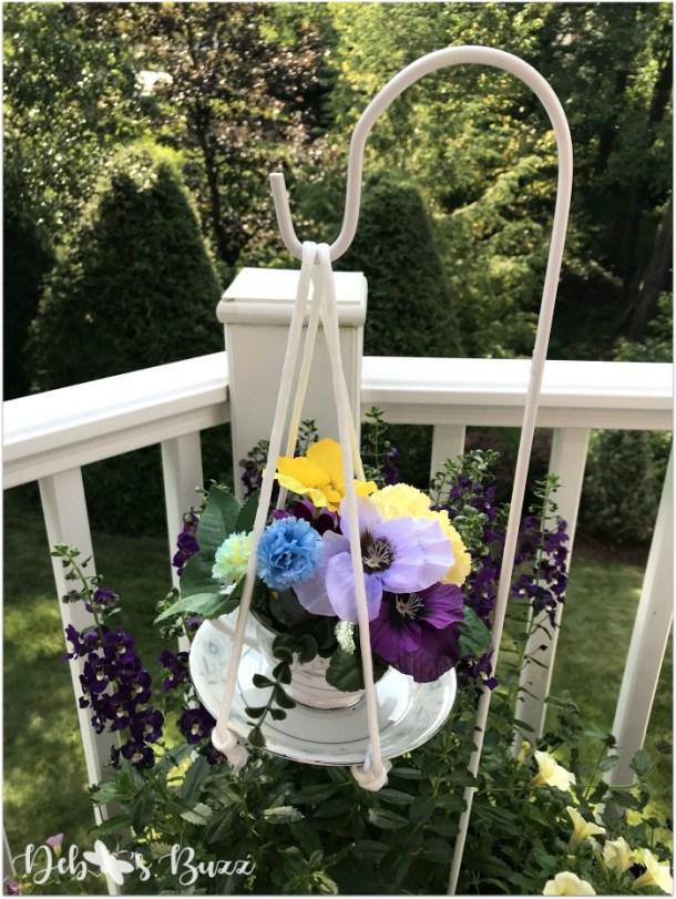 Vintage teacup garden decor with crafts