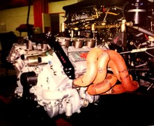 The 1996 PRV 90° 690RC engine during installation and exhaust mock up.