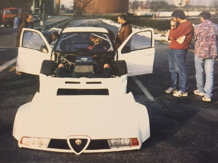 The 1996 and brand new Abarth SE065 with Giorgio Francia for test duties at Chivasso.