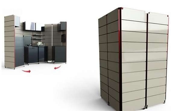 cube that hides the kitchen in the background