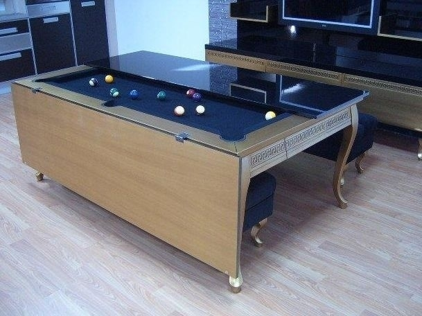 dining room and pool table in one