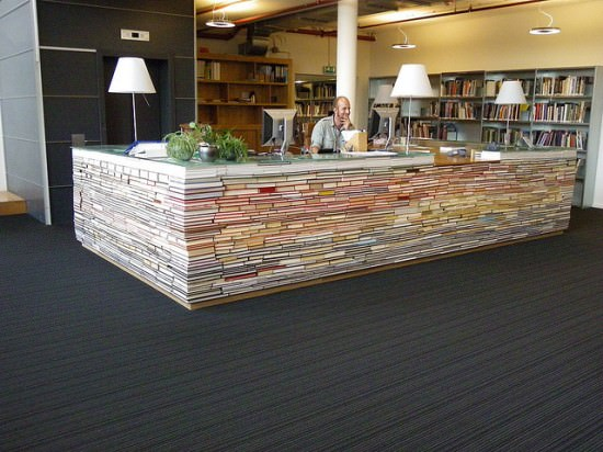 reception desk made out books