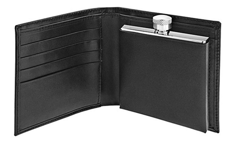 Concealed Flask with Leather Wallet